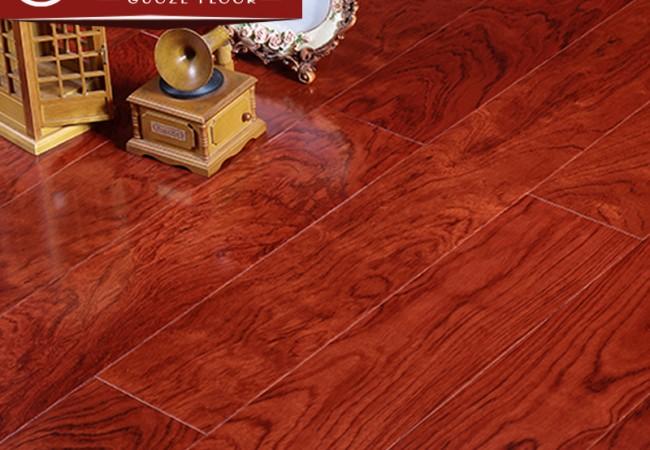 平面多层实木地板 红花梨亮光8011