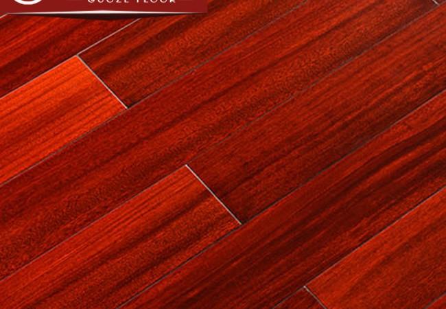 平面实木地板 圆盘豆红色亮光