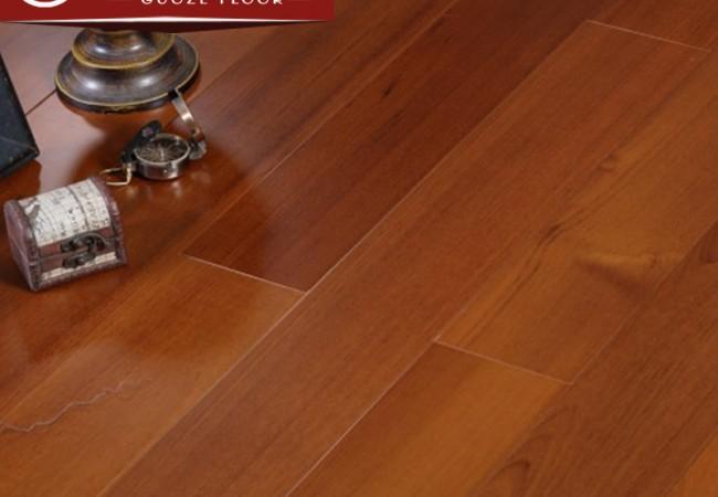 多层实木地板 平面哑光柚木8003